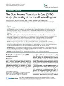 The Older Persons' Transitions in Care (OPTIC) study ... - BioMedSearch