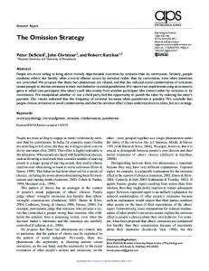The Omission Strategy - Peter DeScioli