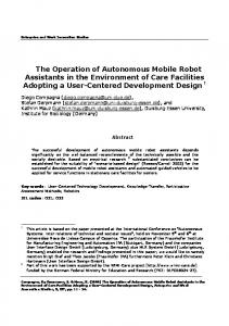 The Operation of Autonomous Mobile Robot Assistants in the ... - RUN