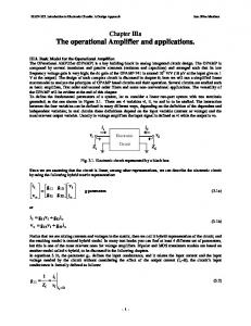 The operational Amplifier and applications.