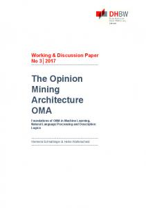 The Opinion Mining Architecture OMA