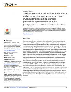 The opposite effects of nandrolone decanoate and exercise on ... - PLOS
