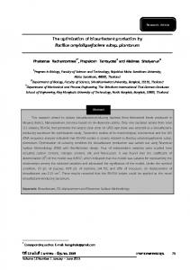 The optimization of biosurfactant production by ...
