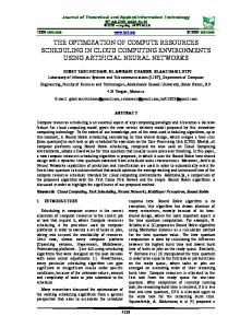the optimization of compute resources scheduling in cloud computing
