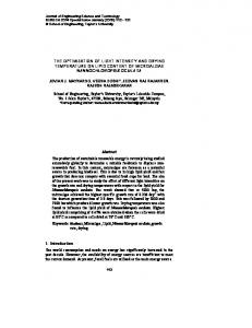 The optimization of light intensity and drying temperature on lipid ...