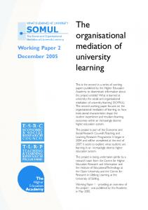 The organisational mediation of university learning - The Open ...