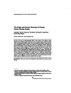 The Origin and Genetic Diversity of Chinese Native Chicken Breeds