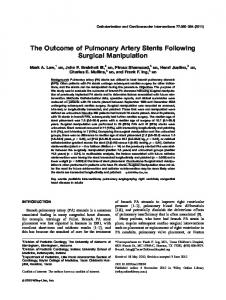 The outcome of pulmonary artery stents ... - Wiley Online Library