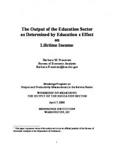 The Output of the Education Sector as Determined by ... - CiteSeerX