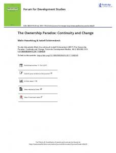 The Ownership Paradox: Continuity and Change