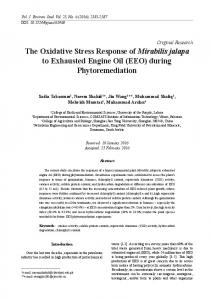 The Oxidative Stress Response of Mirabilis jalapa to ...