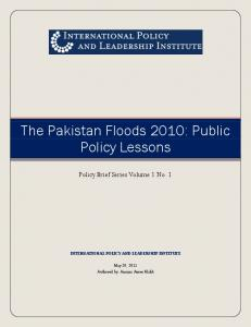 The Pakistan Floods 2010: Public Policy Lessons - SSRN papers