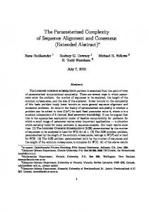 The Parameterized Complexity of Sequence Alignment and Consensus