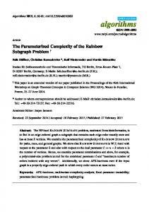 The Parameterized Complexity of the Rainbow Subgraph ... - MDPI