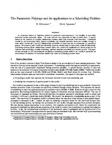The Parametric Polytope and its applications to a ... - Semantic Scholar