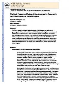 The Past, Present and Future of Geodemographic Research in the ...