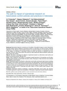 The path to impact of operational research on tuberculosis control ...
