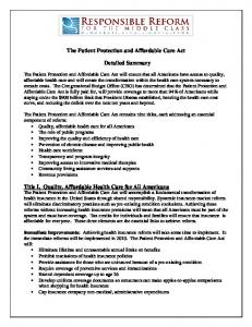 The Patient Protection and Affordable Care Act Detailed Summary ...