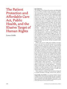 The Patient Protection and Affordable Care Act, Public Health, and the ...