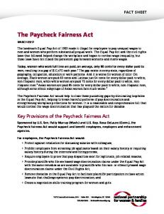The Paycheck Fairness Act - National Partnership for Women ...