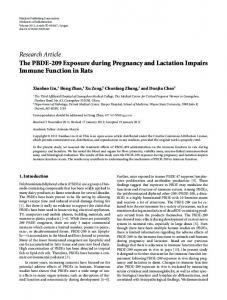 The PBDE-209 Exposure during Pregnancy and Lactation Impairs ...