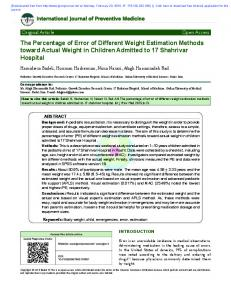 The Percentage of Error of Different Weight Estimation Methods ...