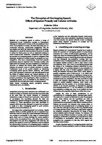 The Perception of Overlapping Speech: Effects of ... - ISCA Speech