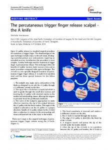The percutaneous trigger finger release scalpel - the A ... - Springer Link