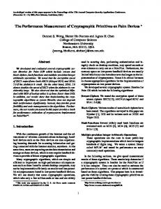The Performance Measurement of Cryptographic ... - Semantic Scholar