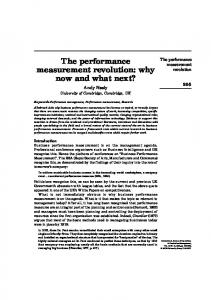 The performance measurement revolution: why now and ... - CiteSeerX