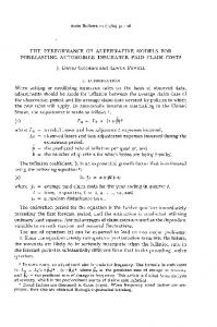The Performance of Alternative Models for Forecasting Automobile ...