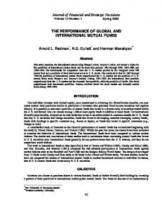 the performance of global and international mutual funds - Financial ...