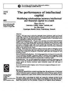 The performance of intellectual capital - Semantic Scholar