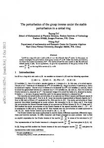 The perturbation of the group inverse under the stable perturbation in ...
