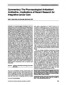 The Pharmacological Antioxidant Amifostine ... - SAGE Journals