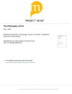 The Philosophy of Evil