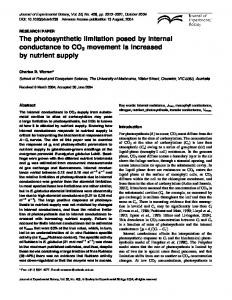 The photosynthetic limitation posed by internal conductance to CO2 ...