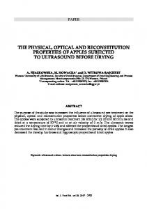 the physical, optical and reconstitution properties of ... - Chiriotti Editori