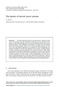 The physics of electric power systems - EPJ Web of Conferences