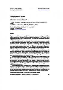 The physics of paper