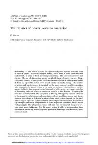The physics of power systems operation - EPJ Web of Conferences