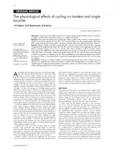 The physiological effects of cycling on tandem and ... - Europe PMC