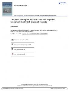 The pivot of empire: Australia and the imperial fascism ...