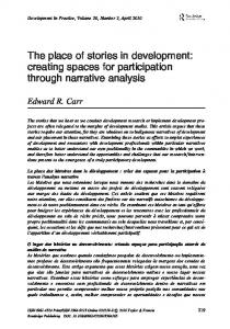 The place of stories in development: creating spaces for ... - Edward Carr