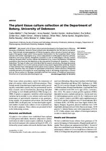 The plant tissue culture collection at the Department of Botany ...