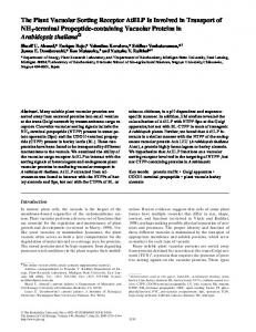 The Plant Vacuolar Sorting Receptor AtELP Is ... - BioMedSearch