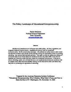 The Policy Landscape of Educational Entrepreneurship