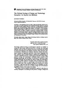 The Political Ecology of Design and Technology Education: An Inquiry ...