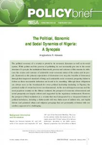 The Political, Economic and Social Dynamics of Nigeria: A Synopsis