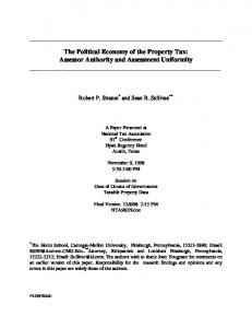 The Political Economy of the Property Tax ... - Andrew.cmu.edu